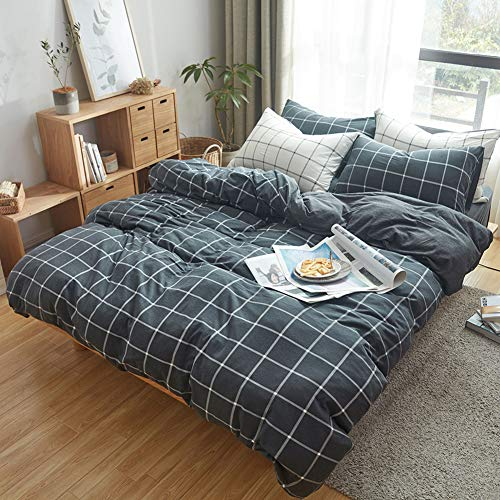 DOUH Jersey Knit Cotton Duvet Cover Queen,Full Size Black Duvet Cover Set, Ultra Soft Comfy Plaid Grid Pattern 3 Piece Bedding Set for Kids, Teens, Boys and Girls