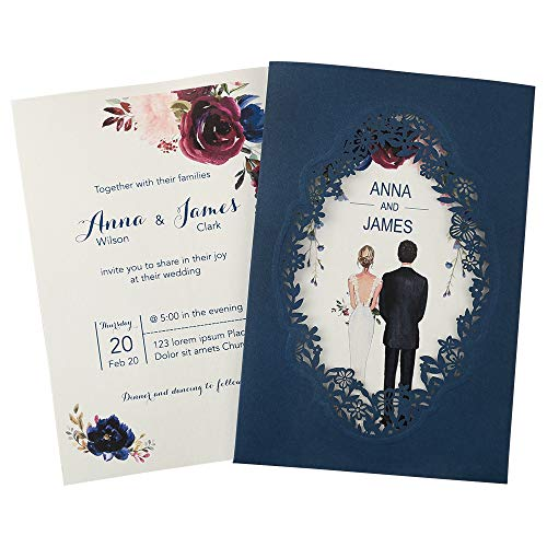 Doris Home 250 GSM 5 x7.3 inch Laser Cut Wedding Invitations Cards with Envelopes and Blank Inner Sheets for Wedding Bridal Shower Engagement CW0015 (Blue, 50pcs Blank)
