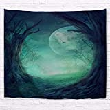 A.Monamour Halloween Holiday Themed Gothic Autumn Valley Woods Spooky Tree Round Opening Full Moon Scene Art Print Polyester Fabric Wall Tapestry Wall Hangings Curtains Picnic Blankets