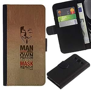 """SAMSUNG Galaxy S3 III / i9300 / i747 , la tarjeta de Crédito Slots PU Funda de cuero Monedero caso cubierta de piel ("""" Mask Anonymous Freedom Protest Revolution"""")"""