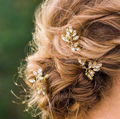 Yean Gold Bridal Hair Pins Set, Wedding Rhinestones Bead Hair Pin for Women and Girls (Set of 3)