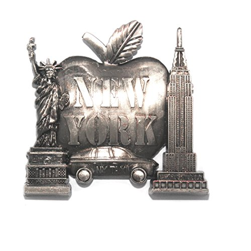 (Big Apple New York Souvenir Metal Fridge NY Magnet - Brooklyn Bridge,Chrysler Building,Statue of Liberty,Empire State Building NYC Metal Magnet (Pack 1))