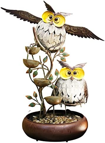 Alpine Corporation MAZ238, 31 , Beige Alpine Tiering Owl Fountain