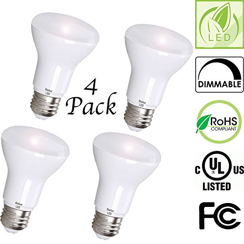 R20 LED Bulbs by Bioluz LED BR20 LED Bulbs (50W Replacement) 2700K Bright Warm White 550 Lumen Smooth Dimmable Flood Lamp - Indoor/Outdoor UL Listed (Pack of 4) by Bioluz LED