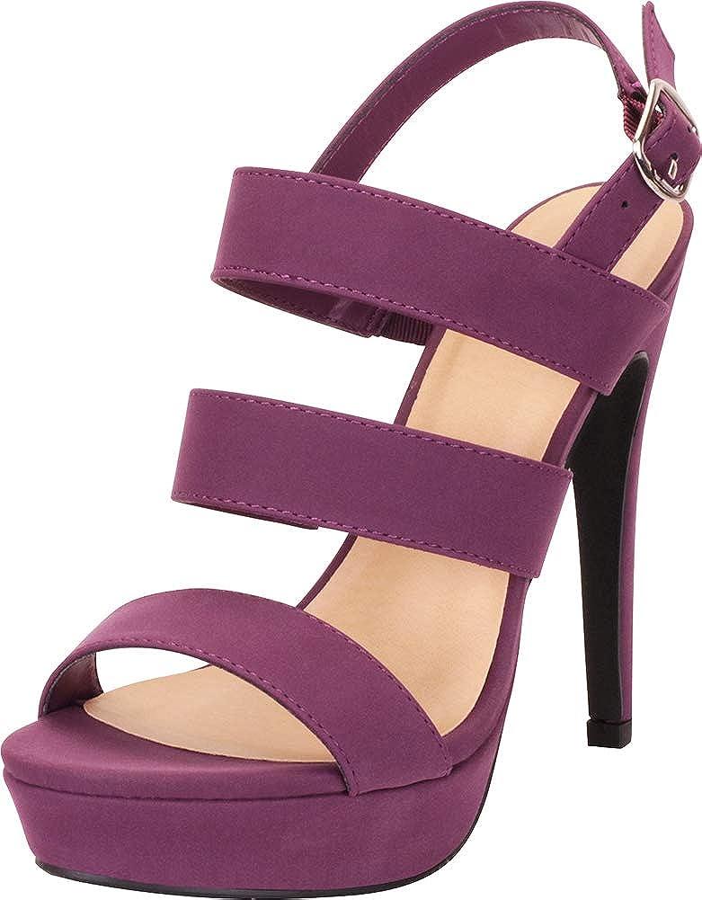Purple Nbpu Cambridge Select Women's Open Toe Strappy Slingback Platform High Heel Sandal