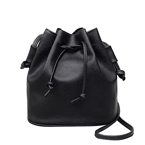 Clearance Sale! ZOMUSA Women Girl Fashion PU Leather Chain Strap Shoulder Bag Bling Sequin Bucket Bag (Black ❤️)