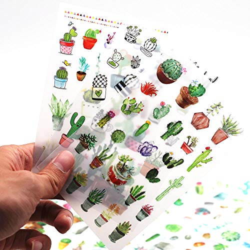 Sanmatic Sticker 12 Sheets(300pcs) Green Cactus Plant Decorative Stickers Scrapbooking Stick Label Diary Stationery Album Bullet Journal Planners Stickers ()