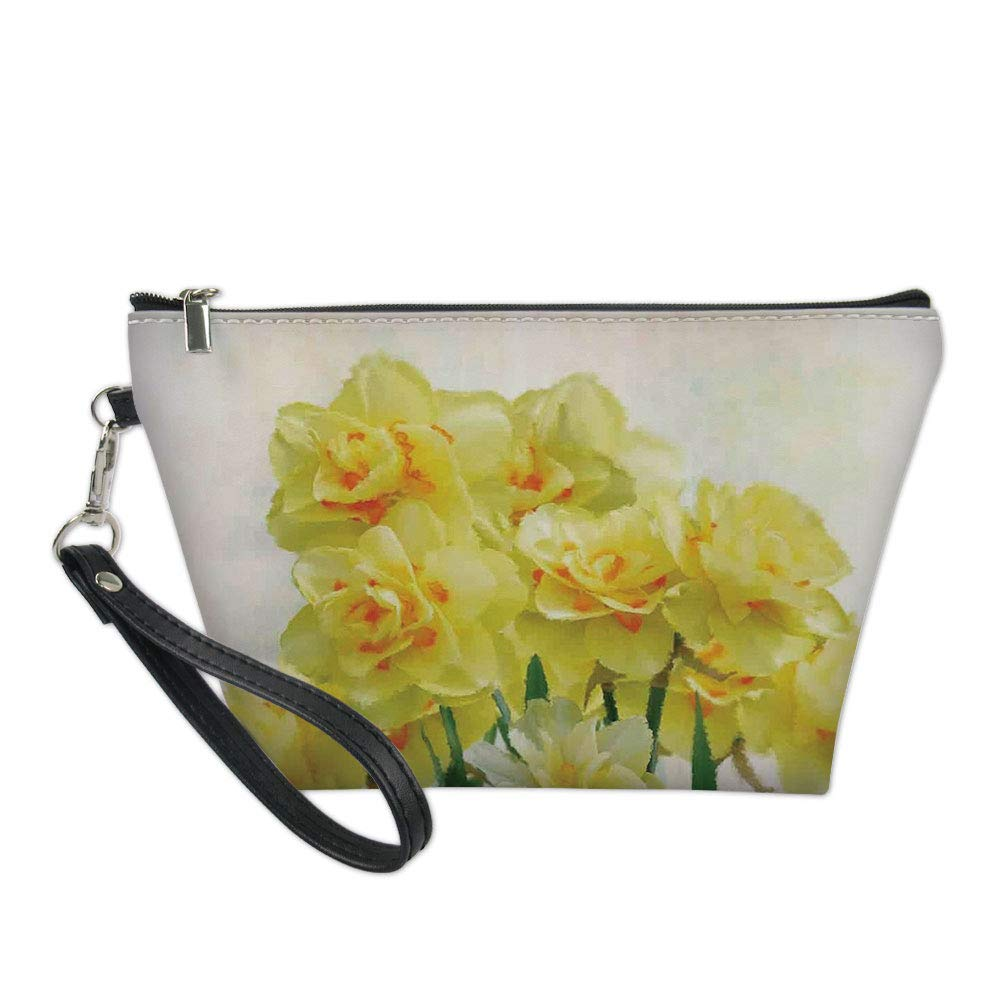 Daffodil Useful Cosmetic Bag,Digital Watercolors Paint of Daffodils Bouquet Called Jonquils in England Lily for Travel,for Women Makeup Bags Pouch Purse Handbag Organizer