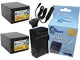 2x Pack - Sony NP-FV100 Digital Camera Battery and Charger Replacement with Car & EU Adapter (3900mAh, 7.2V, Lithium-Ion) - Compatible with Sony DCR-SR82, HDR-CX220, HDR-CX190, DCR-SX85, NEX-VG30, HXR-NX30U, NEX-VG900, HDR-CX430V, DCR-SX45, HDR-SR11, NEX-VG10