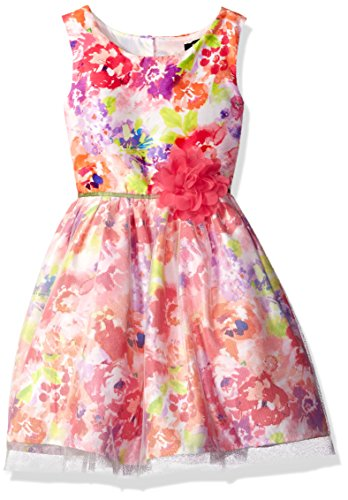 (ZUNIE Girls' Little Watercolor Floral Dress Overlay, Multi,)