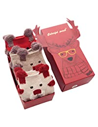 Jamron Women's Girls' Lovely Christmas Gift Set 3 Pairs Novelty Xmas Cotton Socks