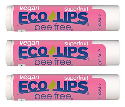 (Eco Lips Vegan Superfruit Bee Free Lip Balm Includes Candelilla Wax, Organic Cocoa Butter and Coconut Oil, 3-Pack)