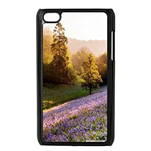 violet flowers 4 Ipod Touch 4 Cases, Non Slip Ipod Touch 4 Cases For Boys Bloomingbluerose {Black}