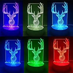 Christmas LED Night Light Odeer 3D Christmas Deer Unique Lighting Effects Home Decor LED Control Table Lamp