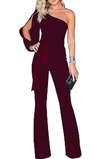 201ba341d0af Voghtic Women s Elegant One Shoulder Long Sleeve Jumpsuits High Waisted  Romper with Belt