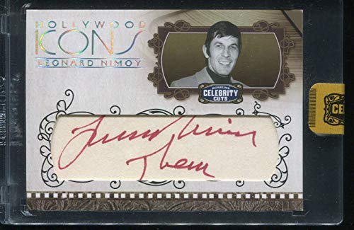(Leonard Nimoy 2008 Donruss Classic Celebrity Cuts AUTO HI-LN Autograph Trading Card #10/16 THEM Hollywood Icons Star Trek)