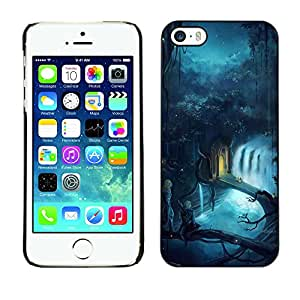 KOKO CASE / Apple Iphone 5 / 5S / fairytale world magic blue river forest / Slim Black Plastic Case Cover Shell Armor