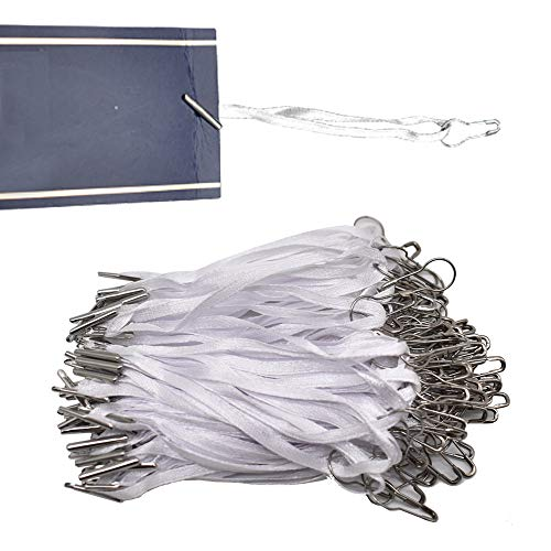 """4.5"""" 500Pcs Hang Tag Fasteners Silks and Satin Strings Safety Pin and Barb Easy and Fast to Attach(White)"""
