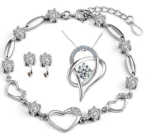 Sterling Silver Jewelry Set Bracelets Necklace Earrings Women Heart Crystal Authentic Link Bracelet Valentines Gifts (Earrings And Bracelet Set)