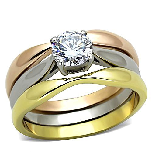 Chelsea: 0.75ct Russian Ice on Fire CZ 3pc 3-Tone Wedding Ring Set 316 Steel, 3188A sz 10.0