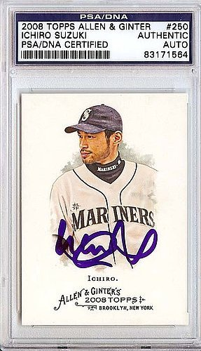 Signed 2008 Topps Card (Ichiro Suzuki Signed 2008 Topps Allen and Ginter Card #250 Seattle Mariners - PSA/DNA Authentication - Autographed MLB Baseball Cards)