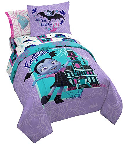 Disney Vampirina Webbed 7 Piece Full Bed Set - Includes Reversible Comforter & Sheet Set - Bedding Features Vampirina, Demi, and Gregoria - Super Soft Microfiber - (Official Disney Product) ()