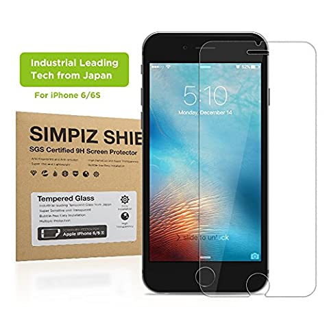 iPhone 6/6S Screen Protector, Simpiz Shield Crystal Clear Ultra Thin Touchscreen Accuracy Hard 9H Tempered Glass Screen Cover for iPhone 6 and iPhone (Iphone 4s Privacy Screen 3m)