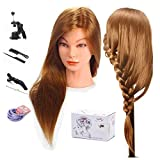 Mannequin Head, MYSWEETY 20'' inch Long Hair Mannequin Head Hair Styling Training Head Manikin Cosmetology Doll Head with Clamp and Accessories