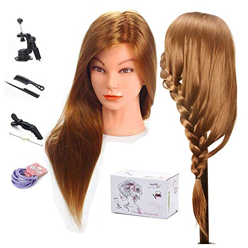 Mannequin Head, MYSWEETY 20'' inch Long Hair Mannequin Head Hair Styling Training Head Manikin Cosmetology Doll Head with Clamp and Accessories (Best Place To Sell Barbies)