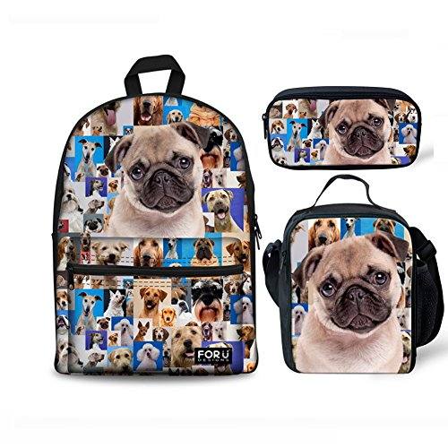 Pug Head - FOR U DESIGNS Cute Pugs Head Boys Girls Canvas College Laptop Backpack + Lunch Bag + Pencil Holder