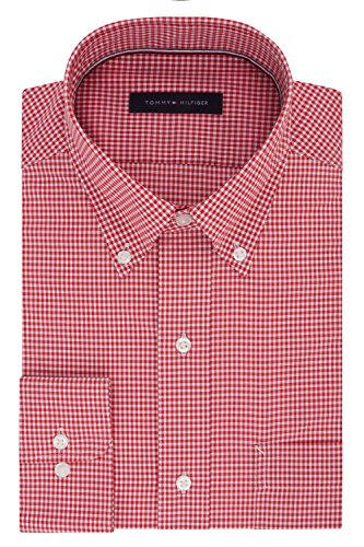 Tommy Hilfiger Men's Dress Shirt Regular Fit Non Iron Gingham, Lava, 16.5