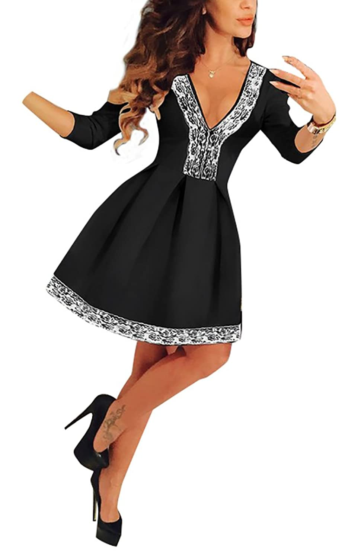 Baymate Damen Hohe Taille V Ausschnitt Partykleid Sommerkleid A ...