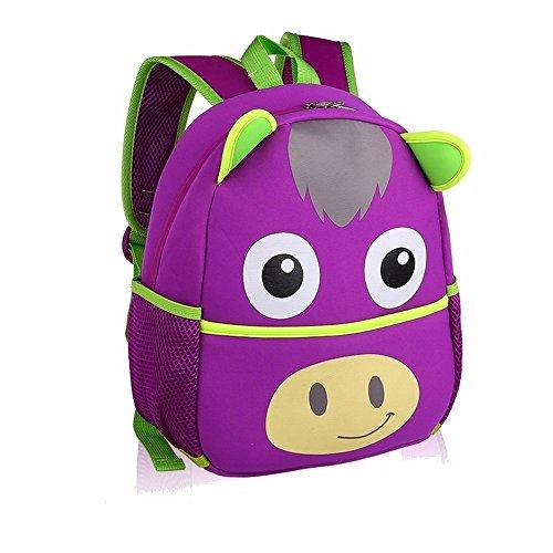 Wen Feiyu Cute animal backpack Boys Girls Toddler Pre School school bag Children Backpacks Bags,Little donkey (Purple)