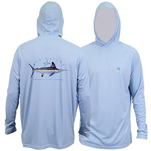 - Guy Harvey Men's Clipper Hood Pro UVX Performance Long Sleeve Hooded Shirt, Sky Blue, 2XL