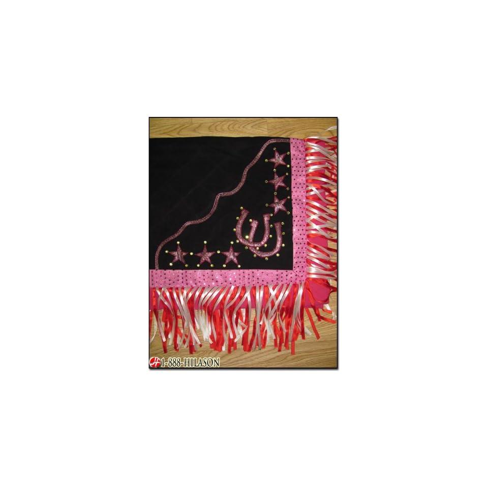 Blanket Black Body Pink Border Horse Shoes & Star Design White And Red Fringes