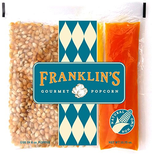 Franklin's Gourmet Movie Theater Popcorn. Organic Popping Corn, 100% Coconut Oil, & Seasoning Salt. Pre-Measured Portion Packs (Pack of 24).