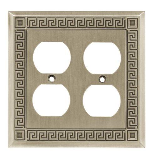 Liberty W116ZMC-BSP-C5 Greek Key Double Duplex Wall Plate / Switch Plate / Cover