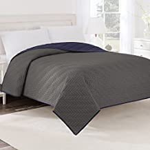 Martex Two-Tone Solid Color Reversible Quilt, Coverlet, Bedspread - Textured with Intricate woven quilt stitch detailing - Graphite Gray Reversing to Navy Blue, Twin