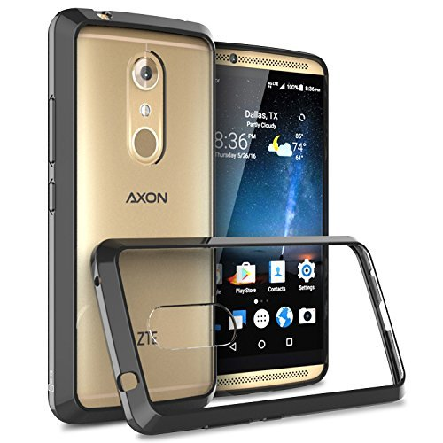 ZTE Axon 7 Case, CoverON [ClearGuard Series] Hard Clear Back Cover with Flexible TPU Bumpers Slim Fit Phone Cover Case for ZTE Axon 7 - Black