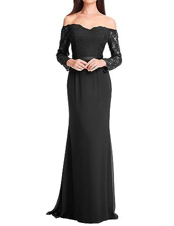 c0de63d62d3 Chiffon Long Prom Dresses Lace Maxi Evening Formal Gowns Sleeves Party Dress  Black US 2