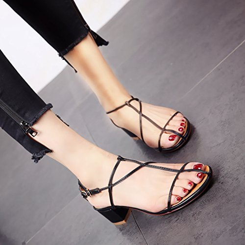 Moda Verano ahuecó Mujer Tacones Tacones y Toe black Sandalias Toe Europeo YMFIE xYwdH7qRSw