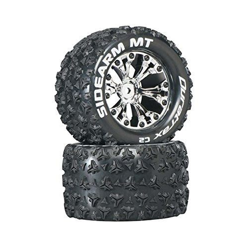 Sidearm MT 2.8 1/10 RC Monster Truck Tires with Foam Inserts: C2 Soft, Mounted, 6-Spoke Front/Rear Wheels, Chrome, 1/2 Inch Offset, Set of 2