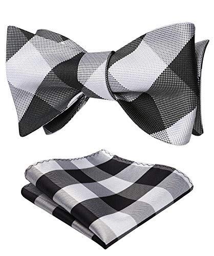 SetSense Men's Plaid Jacquard Woven Self Bow Tie Set One Size Black/White