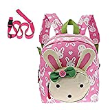 Caxece Cute Rabbit Kid Backpack Little School Bag for Girls Book Bag for Toddler Under 3 Year (Pink)