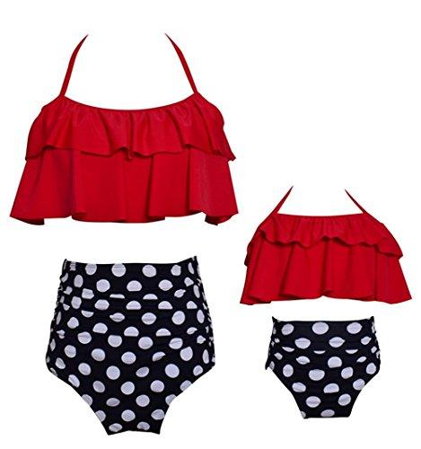 Suit Dot - KABETY Girls Swimsuit Two Pieces Bikini Set Ruffle Falbala Swimwear Bathing Suits (Red Mom, Mom S)