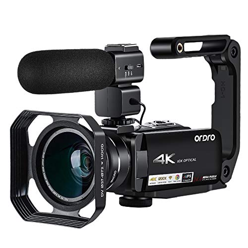 Video Camera 4K Camcorder ORDRO 4K Ultra HD Camcorder 10x Optical Zoom 4K Video Camera 3.1'' IPS Touch Screen WiFi Camera Recorder with Microphone Wide Angle Lens and Camera Holder