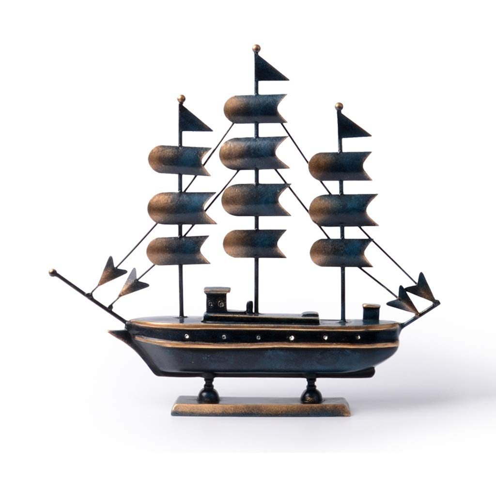装飾材料 帆セーリングモデル装飾リビングルームワインキャビネット装飾ポーチ装飾樹脂像 (Color : Blue, Size : 47*8*46cm) 47*8*46cm Blue B07TMMKVFN