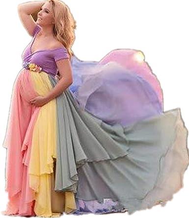 Dress Rainbow Pregnant Evening Dress Props Newborn Women Dress High Waist At Amazon Women S Clothing Store