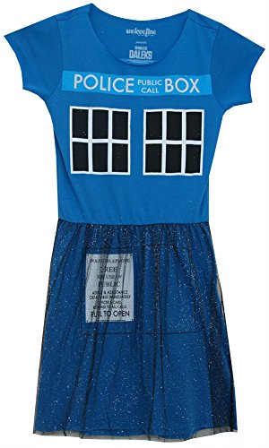 Box Police Call Costume (Dr. Who Tardis Public Police Call Box Ballerina Mighty Fine Juniors Tulle)