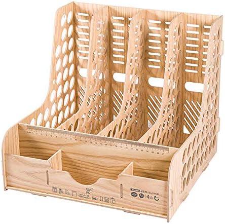 Praktisch robustes Aktenregal aus Holz, Desktop-Aktenleiste, Aufbewahrungsregal auf dem Schreibtisch, Multifunktions-Aktenrahmenkorb mit großer Kapazität, Informationsregal für Büromaterial-woodgr